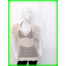 Camisola Remera Pareo Blusa Xl T 50/52 Crochet Malla Bikini