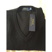 Sweater De Lana Merino Polo Ralph Lauren Escote V Original