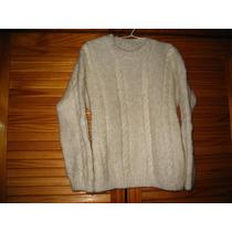 Sweater Pullover Lana Tejido A Mano Perla 6/8 Con Ochos