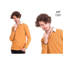 Sweater Escote En V Con Vivo - Danilan