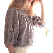 Sweater Corto Encaje Tejido - Calado