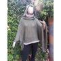 Sweater Sueter Poncho Capucha Tejido Artesanal Hasta Xxxl