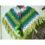 Poncho Tejido Al Crochet Niños- Niñas