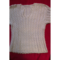 Sweater Blanco Tejido A Mano En Lana De Hilo