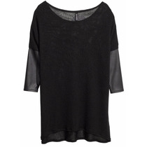 Remera Top Sweater Tejido Liviano C/ Eco Cuero H&m Nuevo