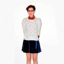 Clippate Sweater Pullover Calado Mujer Lana Negro Blanco