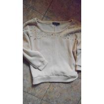 Sweater Con Detalle Perlas, Cuello Redondo