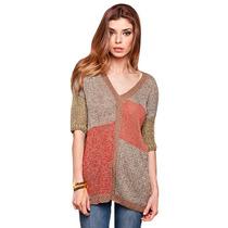 Sweater Pullover Tejido Hilo Algodón Lurex Manga 3/4 Escotev