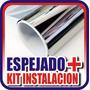 Rollo De Film Espejado Plata Vidrio +kit Instalacion 10mx1.5