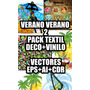 Verano Verano 2 Pack De Vectores Ideal Textil +decoración