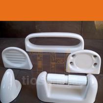 Set Accesorios Baño Porcelana 5 Piezas Pringles Oniro Blanco