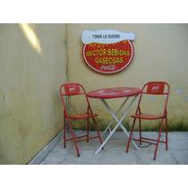 Mesa Y 2 Sillas Antiguas De Coca Cola ¡ ¡