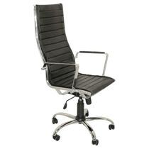 Sillon Ejecutivo Oficina Aluminum Cromada Blanco Negro