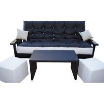 Combo Futon Cipres 3 Cuerpos+colchón Ecocuero+mesa +2 Puff