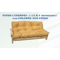 Futon 3 Cuerpos+ Colchon Eco Cuero