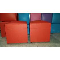 Puff Cubo Reforzado En Cuero Ecológico 40x40 Cm