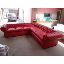 Sillon Sofa Esquinero Chesterfield Cuero Rojo Unico