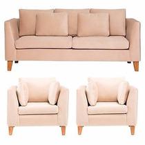 Sillon Sofa 3 Cuerpos Primus En Tela Chenille O Similcuero!!