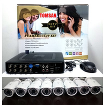 Kit Dvr/nvr 8ch Ahd 8 Camaras Hd 8 Cables Fuentes Apto Ip