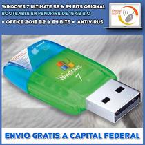 Windows 7 Ultimate Original + Office 2013 En Pendrive 16gb