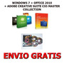 Windows 7 + Office 2010 + Adobe Suite Cs5 (5 Dvds) + Envio