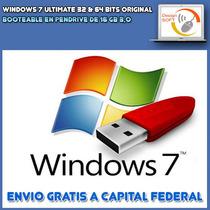 Windows 7 Ultimate 32 & 64 Bits Original En Pendrive De 16gb