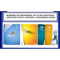 Windows Xp Pro Sp3 + Office 2007 + Pack Aplicaciones (3 Dvds