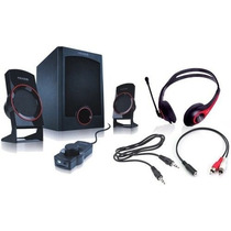 Microlab Combo Gaming Pc M371-gc Parlantes Auricul Y Cables