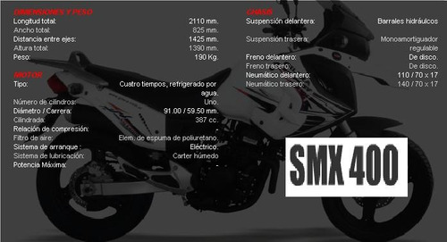 Smx 400 Okm Modelo 2015 Tablero Digital Nuevos Colores