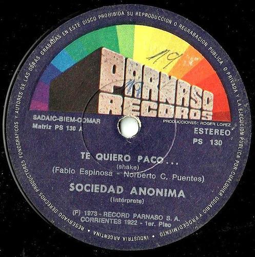 Sociedad Anonima Te Quiero Paco...- En Esta Ciudad Simple