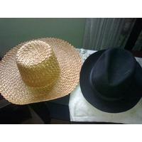 Dos Antiguos Sombreros Chambergo Negro Capelina De Rafia