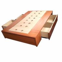 Box Sommier Base Cama 2 Plazas Con 4 Cajones