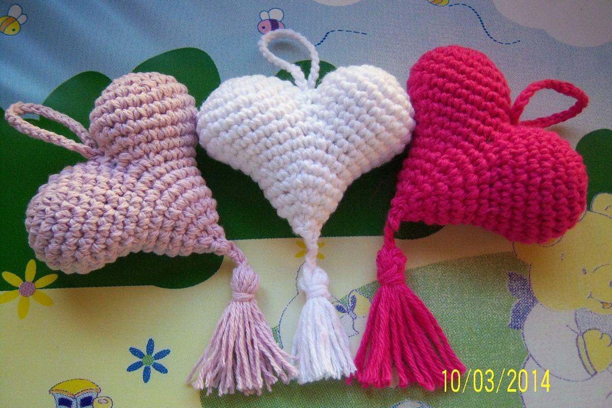Souvenirs Corazones Tejidos Al Crochet Con Borla - $ 35,00 en ...