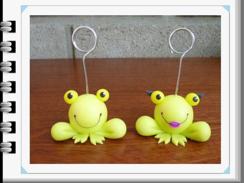 Souvenirs Portafoto Sapo Pepe Y Pepa En Porcelana Fría