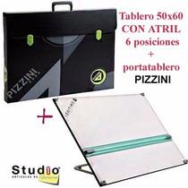 Tablero Dibujo 50x60 C/atril 6 Posic + Portatablero Pizzini