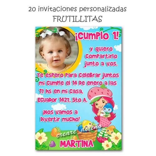 Tarjetas Invitaciones Cumpleaños + Cartel C Foto Frutillita ...