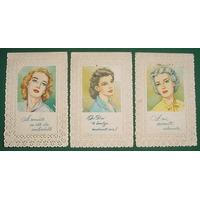 Tres Antiguas Tarjetas Ilustradas Dia De La Madre Labradas