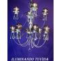 Araña 12 Luces Con Caireles De Cristal Y Pantallas Completa