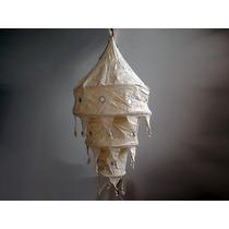 Lámpara Colgante De Tela Hindú De 3 Pisos Natural