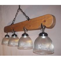 Lámpara Estilo Campo.colgante,4 Luces,madera Maciza