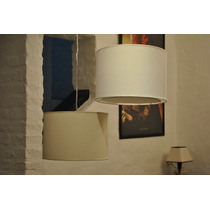 Lampara Colgante De Tela Plastificada Lino 1 Luz