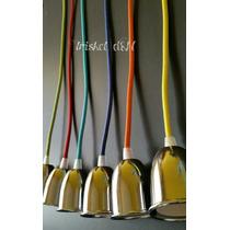 Lampara Con Cable Textil De Color Y Portalampara Cromado