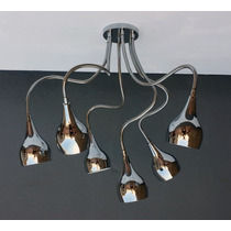 Lámpara Araña Medusa Diseño Retro Moderno Cromada 6 Brazos