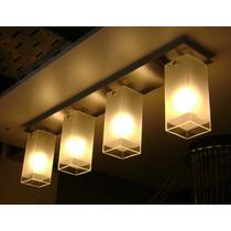 Aplique De Techo 4 Luces Vidrios Cuadrados Para Bajo Consumo