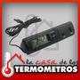 Termometro Digital Con Sensor Interno Y Externo Y Reloj
