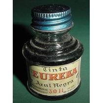 Antiguo Frasco Tinta Eureka 3011 Azul Negra Publicidad