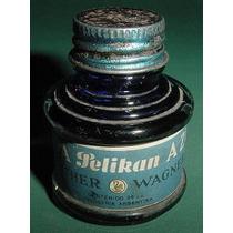 Antiguo Frasco Tinta Pelikan Azul Gunther Wagner Publicidad