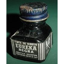 Antiguo Frasco Tinta Eureka De Dibujo Color Negra Publicidad
