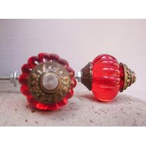 Tirador Manija P/mueble Cajón Estilo Antiguo Esfera Roja 3cm