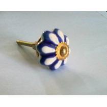 Tiradores Ceramica Flor Azul Blanca Cajones Muebles Manijas